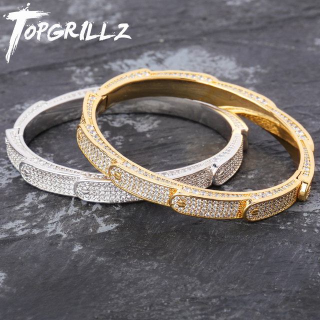 New Personalized Solid Iced Out Mens Charm Bracelets Bangle Iced Out Gold Silver Color Bracelets Hip Hop Bling Jewelry Gifts