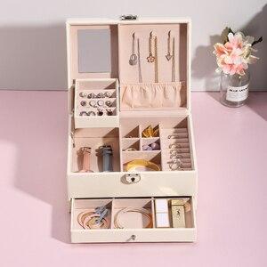 Image 3 - Grande boîte à bijoux en cuir PU multicouche, casier organisateur pour colliers, bagues, boucles doreilles, boîtes de rangement pour bijoux, 2020