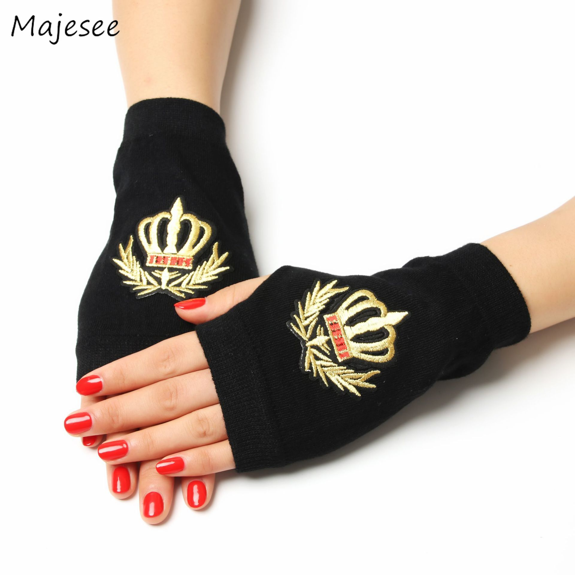 Gloves Women Black Funny Printed Womens Glove Half Finger Simple Casual Winter Warm Elegant Floral Embroidery Chic Fashion New