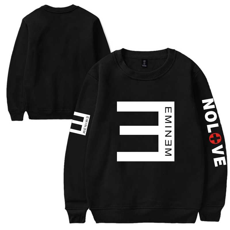 2019 New EMINEM NOLOVE Letter Printing Plus Velvet Loose Round Neck Sweater Men And Women Youth Winter Dropshipping