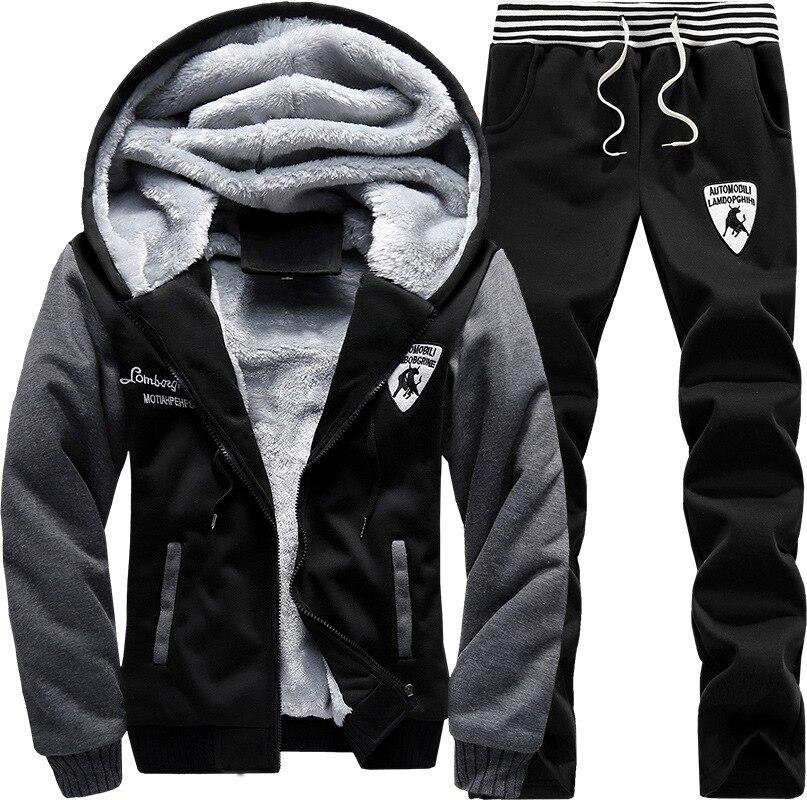 Зимний плюс бархатный мужской спортивный комплект с капюшоном, корейский стиль, повседневный спортивный комплект из двух предметов с