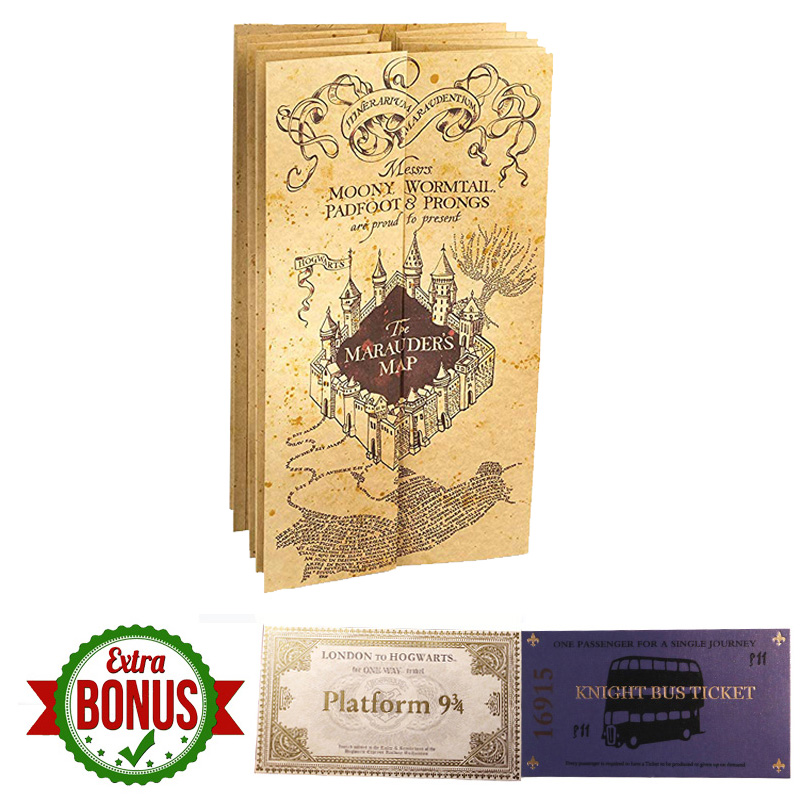 Potters The Marauder's Map Wizard School Ticket Students Harried Letter 9 3/4 Platform Express Ticket Knight Bus Ticket Gifts