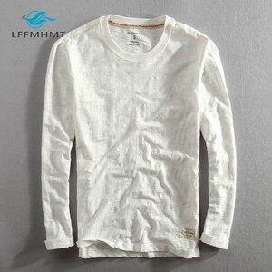 Image 4 - גברים אביב סתיו אופנה סין סגנון בציר מוצק צבע במבוק כותנה ארוך שרוול O צוואר חולצה זכר מזדמן דק טי Tshirts