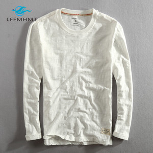 Image 4 - Männer Frühling Herbst Mode China Stil Vintage Einfarbig Bambus Baumwolle Langarm Oansatz T shirt Männlichen Casual Dünne T T shirts