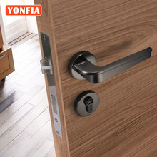 YONFIA 8044 Latest Black Brushed Nickel Modern Design Door Handle Lever Home Hotel House Interior Door Handle Set with Lock
