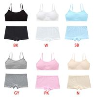 Teenage Girls Underwear Set Solid Color Spaghetti Straps Training Bra Boyshort 40JF