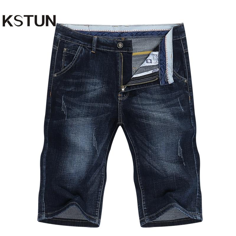KSTUN Summer Shorts Jeans Men Denim Pants Stretch Dark Blue Fashion Design Men's Jeans Slim Straight Male Short  Jeans Hombre