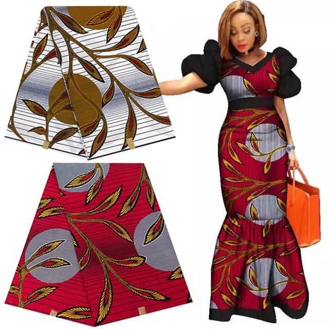 100% Cotton Ankara Africa Prints Fabric Real Wax Pagne Tissu Sewing Material For Craft Party Dress DIY Floral Patterns