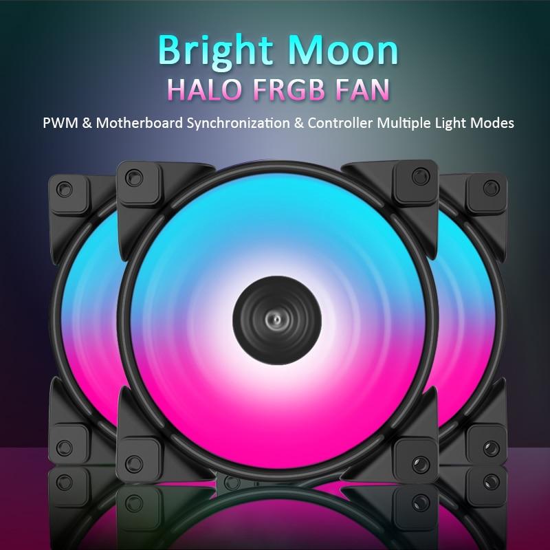 Pccooler 3/Pack HALO RGB ventilateur 12cm 12V & 5V FRGB 3pin & 4pin PWM silencieux ventilateurs de refroidissement 120mm RGB ventilateur pour refroidisseur de processeur refroidissement liquide