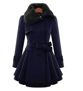 Image 4 - Manteau long mélangé de laine pour femme, manches longues, col rabattu, pardessus chaud et élégant en cachemire, hiver, veste de survêtement, décontracté