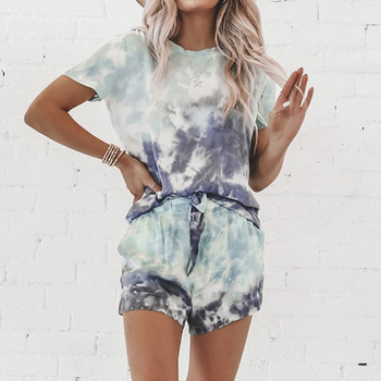 цена на Women Casual Loose Tie Dye Colorful Yoga Suit Lady Short Sleeve Pullover Crew Neck Top + High Waist Drawstring Shorts