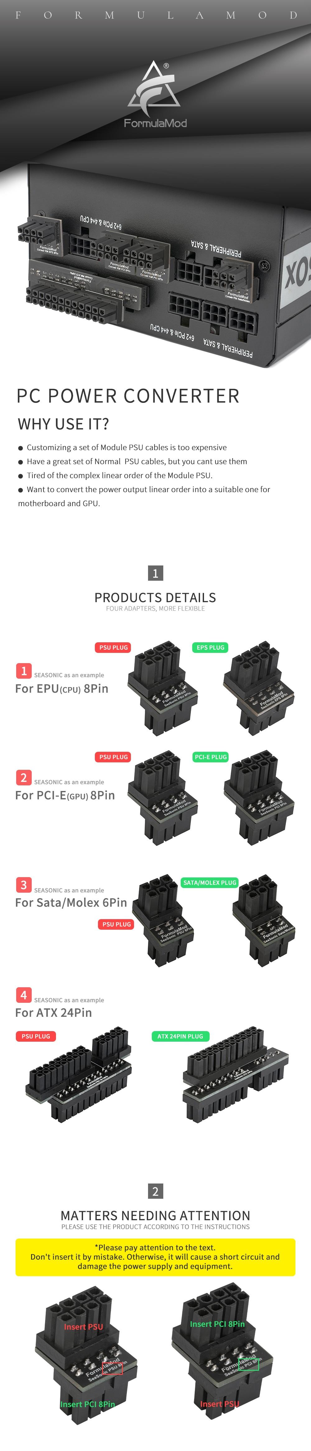 FormulaMod Modular PSU Changer Converter, Change the Modular Linear Order to Ordinary PSU Linear Order, For Corsair Seasonic