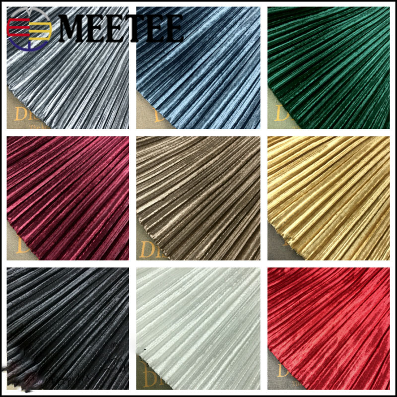 Meetee 50/100cm X 150cm Solid Color Pleated Cloth Gold Velvet Fabric for Winter Spring Skirt T-shirt Garment Accessories FA225