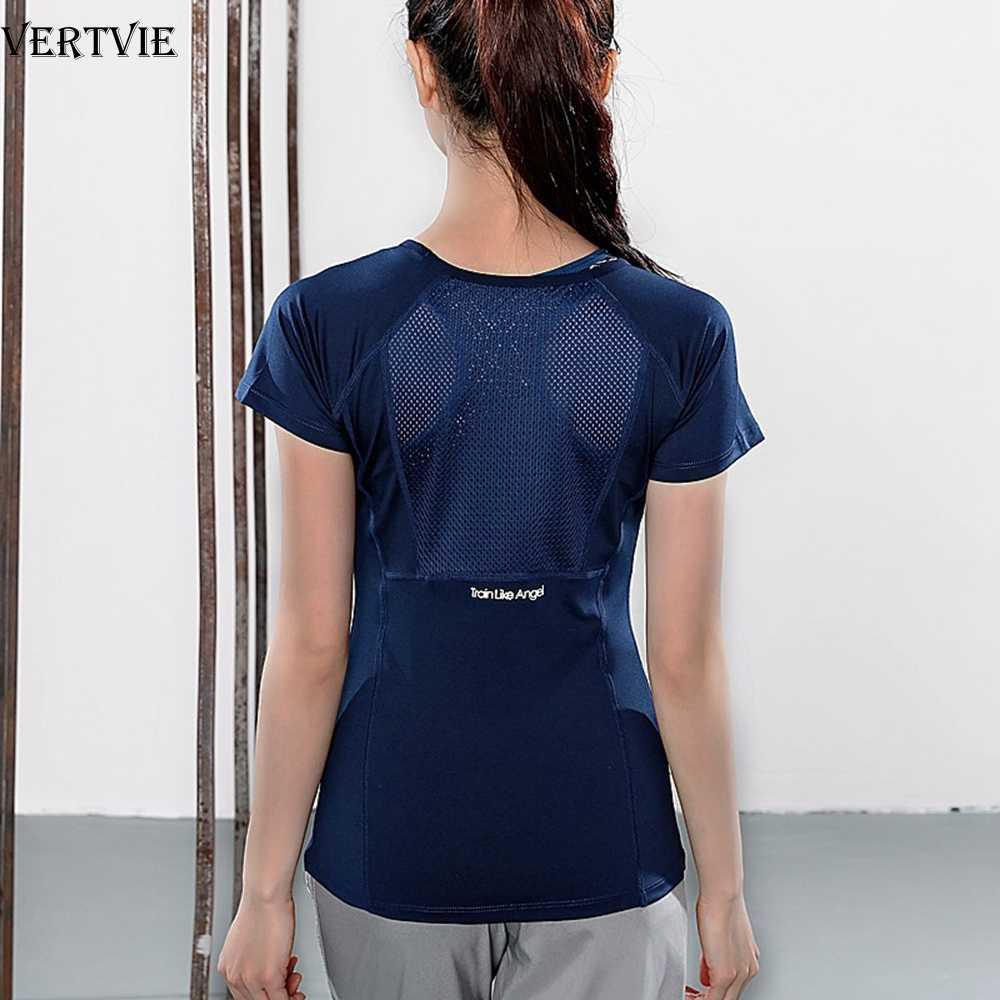 Vertvie Vrouwen Zomer T Shirts Slim Fit Sportkleding Fitness Yoga Shirt Korte Mouw Yoga Tops Mesh Strakke Gym Shirt Workout running