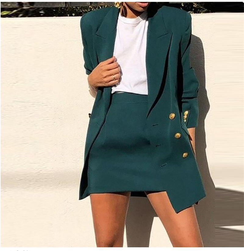 Women's Suit Vintage Women Skirt Suit Green Notched Blazer Jacket 2020 Spring Office Wear Women Suit With A Skirt Female Sets