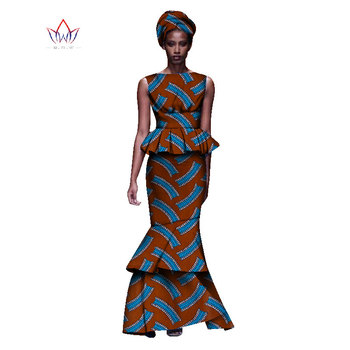2020 New African Dresses For Women Dashiki Ladies Clothes Ankara O-Neck Africa Clothes Two Pieces Set Natural 6xl None WY1054 - 12, M