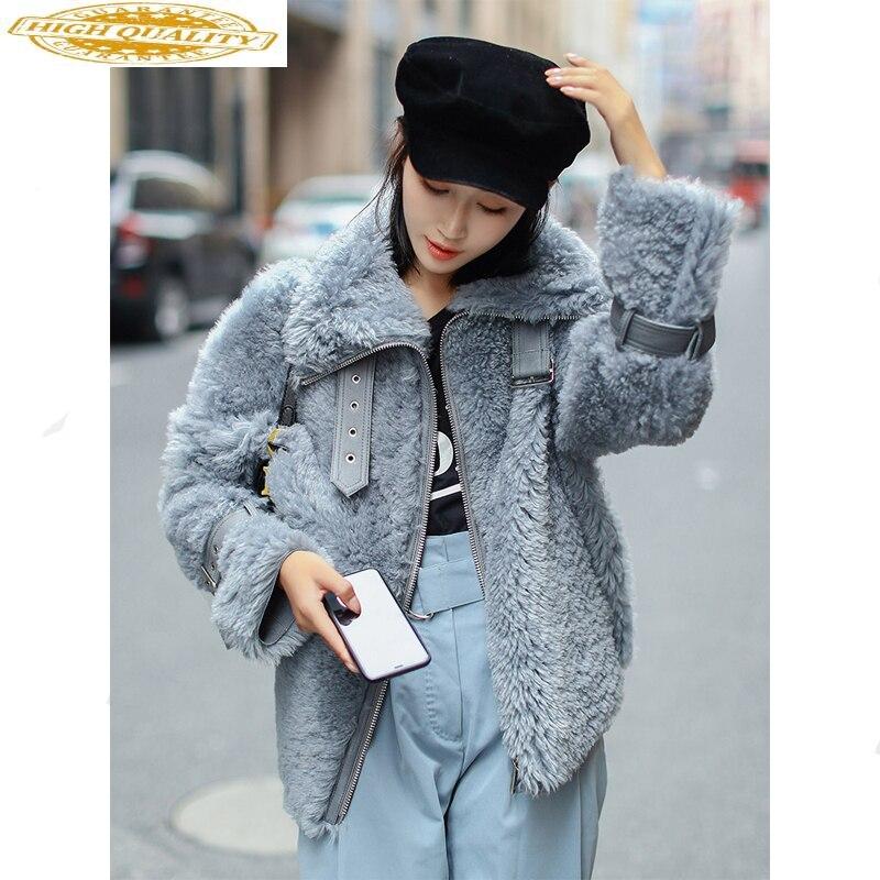 Double Faced Fur Coat Female Natural Sheep Shearling Fur Coats Winter Jacket Women Korean Genuine Leather Jacket MY4029