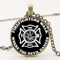 2019 New  Firefighter Wife Glitka Bochin Round Convex Glass Necklace Pendant Necklace