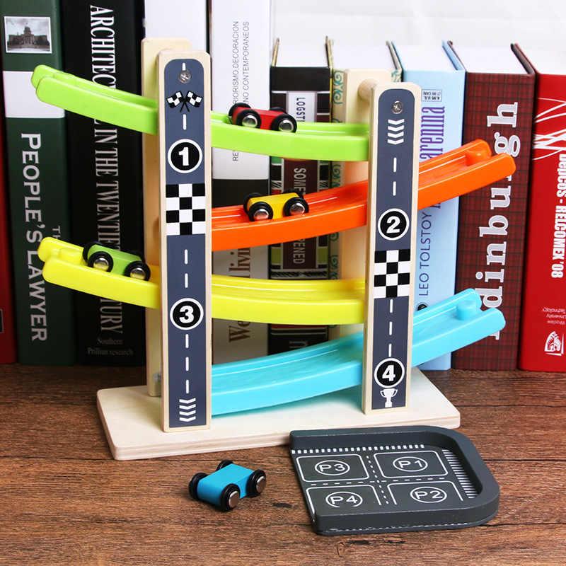 قطار خشبي 4 طبقات سباق المسار و 4 صغيرة الجمود سباق السيارات انزلاق لعبة Vehical وتدريب طفل رضيع المحرك للطفل سيارة