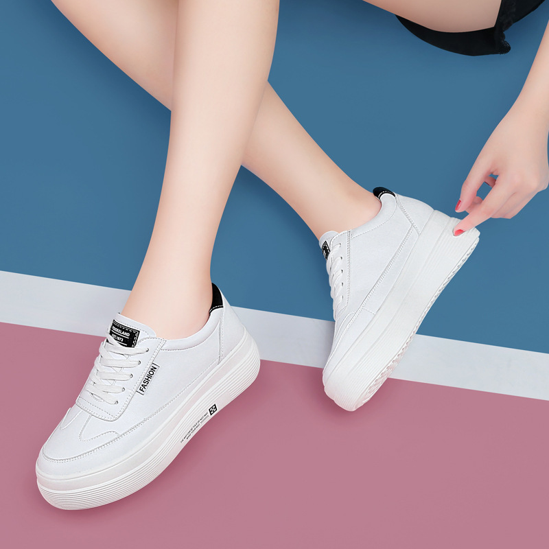 Small White Shoes Female 2020 Season Wild Inside Increase Women's Shoes White Thick Bottom Leisure Student Sports Shoes