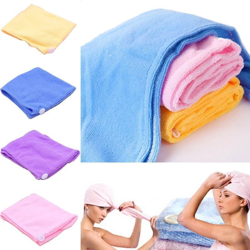 21*51cm Women Absorbent Microfiber Towel Turban Hair-Drying Shower Caps Bathrobe Hat Multi Colors Hair Wraps For Women Random