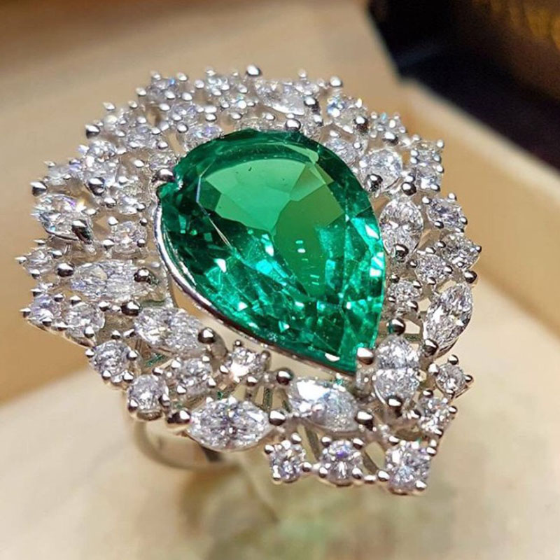 MENGYI Большие капли воды зеленый циркон камень кольца для женщин роскошный австрийский кристалл обручальные кольца преувеличенные Свадебны
