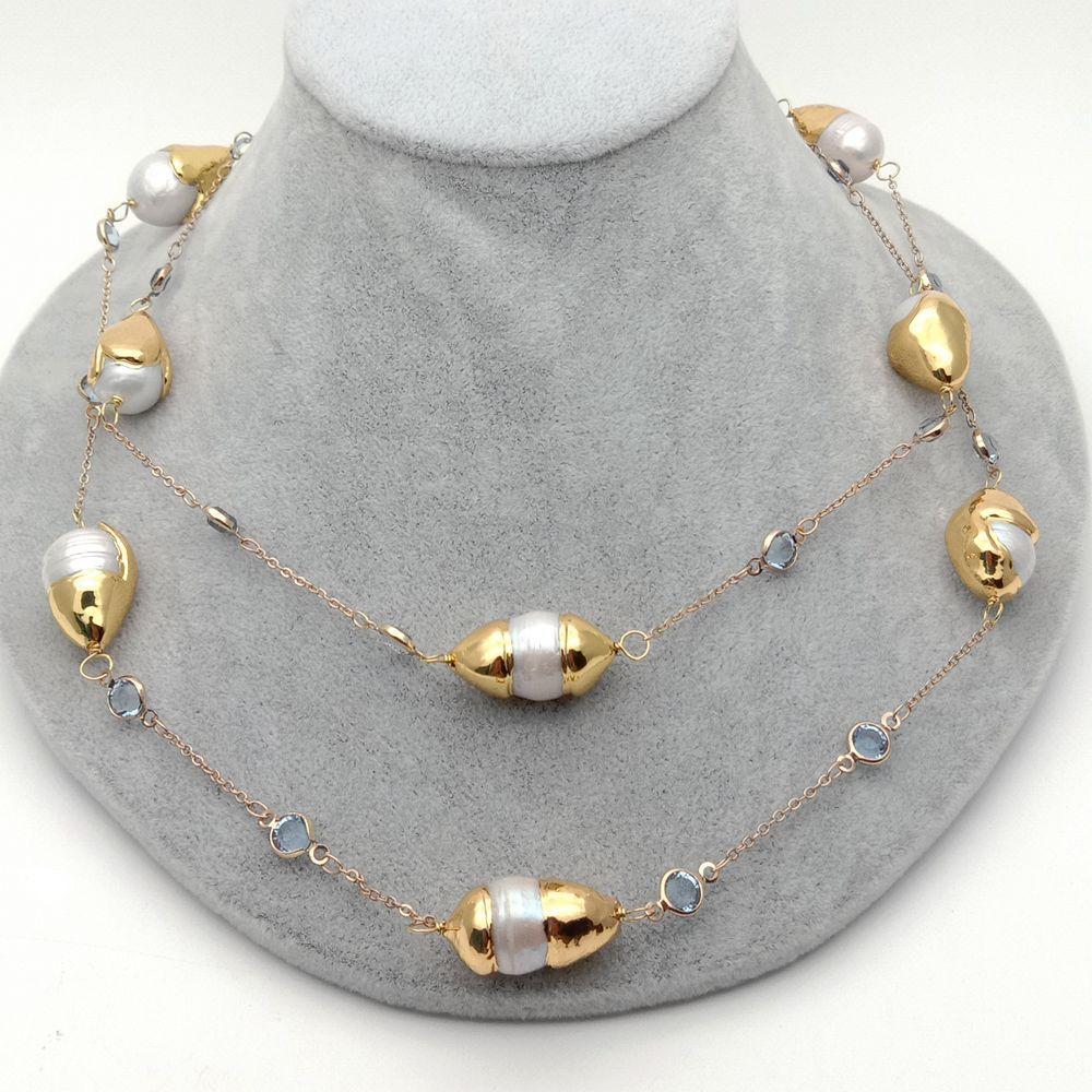 Keshi-collar de cadena largo para mujer, color dorado con collar de perlas blancas de agua dulce, joyería llamativa