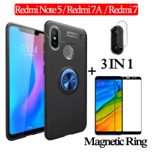 3-in-1 Glass + Magnetic Silicone Case for Redmi-Note-5 Soft phone Redmi 7A Full Cover redmi-note-5 magnetic ring