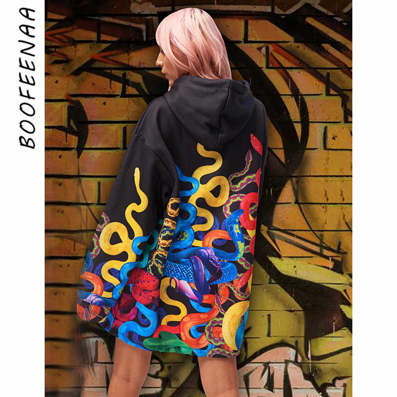 BOOFEENAA Graffiti Print Oversized Hoodies Streetwear Hip-hop Women Casual Clothes Autumn Winter Sweatshirt Pullover C70-AG91