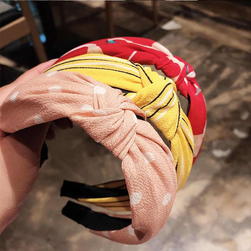 Богемный женский элегантный топ с узлом и принтом в горошек, клетчатый цветок, повязка на голову, повязка на голову, держатель для волос, тюрбан, модные аксессуары для волос