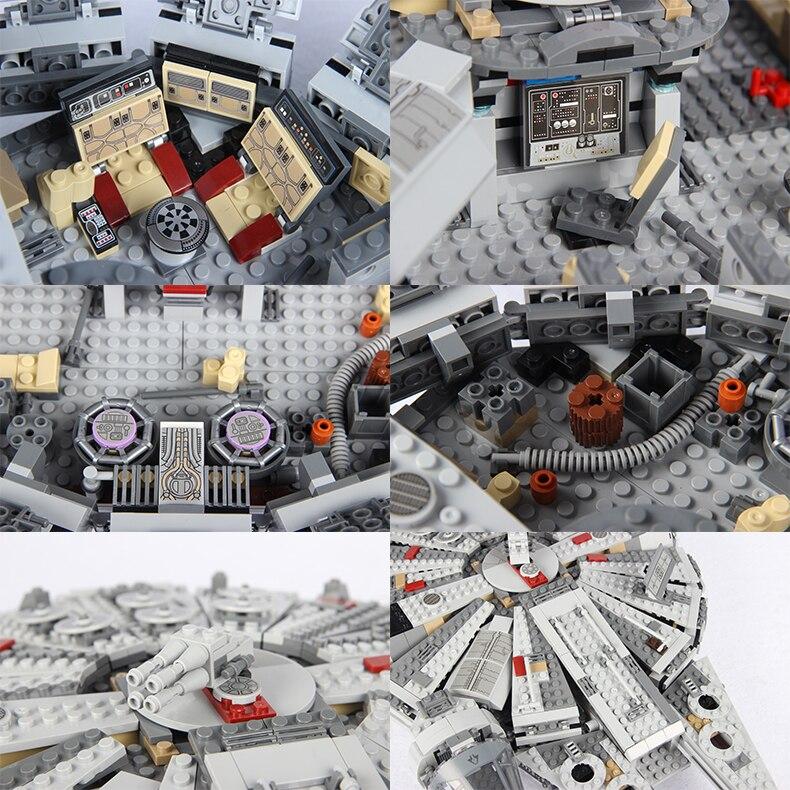 Para legoing star wars força desperta millenary falcon para legoed filme 2 starwars figuras star war espaço navio blocos de construção brinquedo - 5