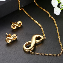 Letter Necklace Personalized Eight Gold Chain Stainless Steel Jewelry Woman Accesories Fashion Pendants Earrings Set