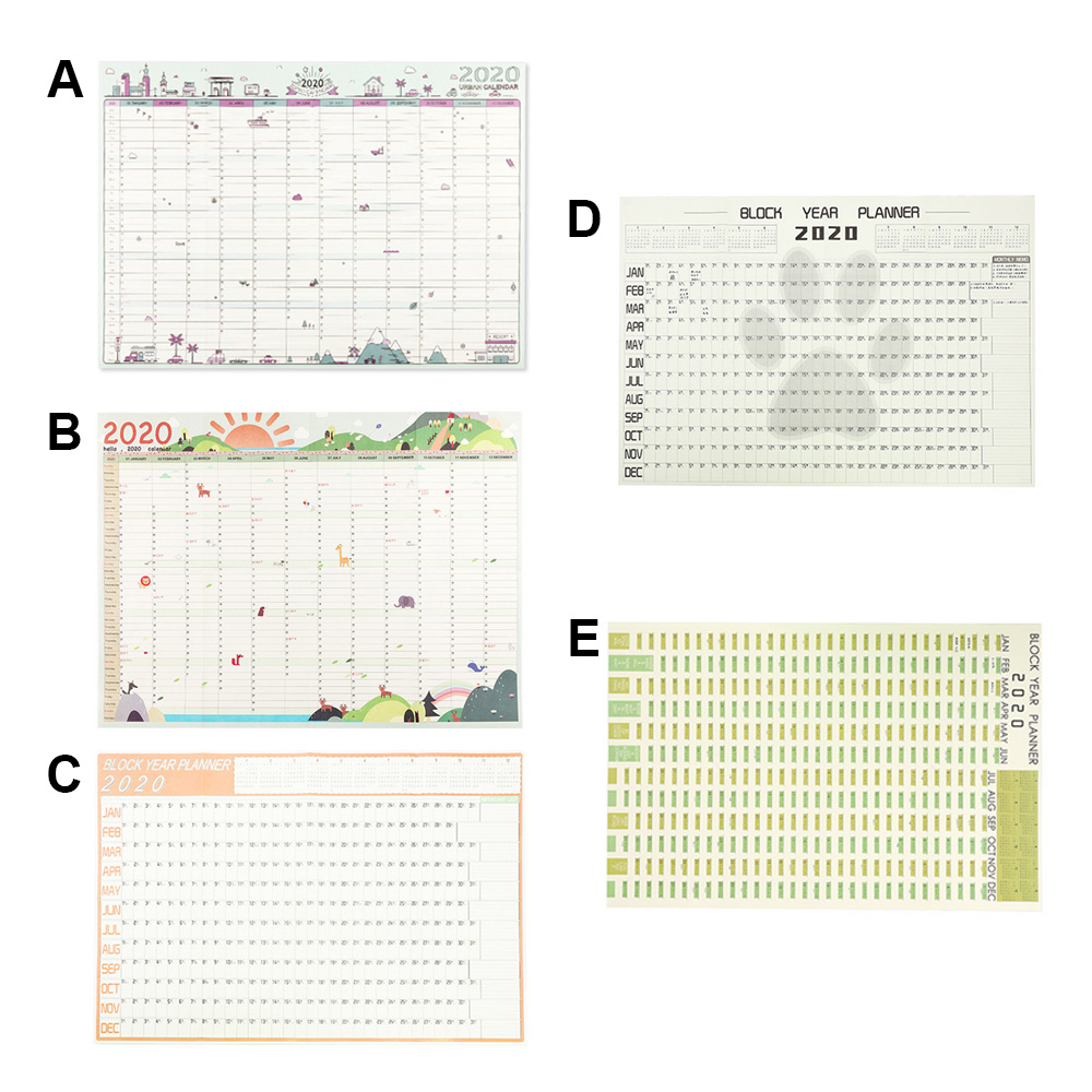 Wall Planner Large 2020 Block Year Planner Daily Plan Paper Calendar Poster For Office School Home Supplies