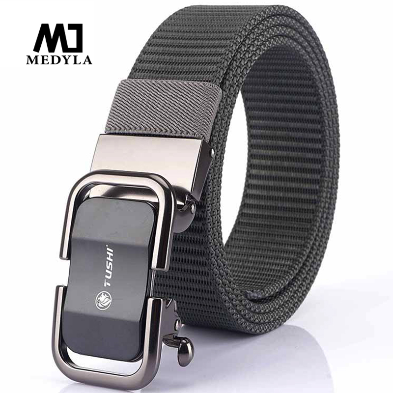 MEDYLA 2020 New Mens Tactical Belt Advanced Black Automatic Buckle Military Nylon Belt Soft Nylon Outdoor Sports Army Belt