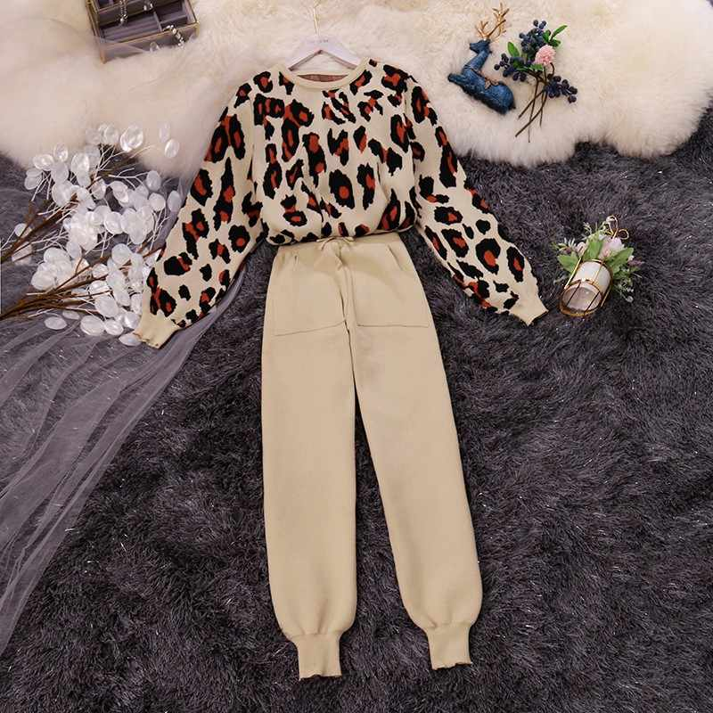 Amolapha Women Leopard Knitted Sweater Tops+Solid Pants Sets Long Sleeve Jumpers Trousers Suits for Woman