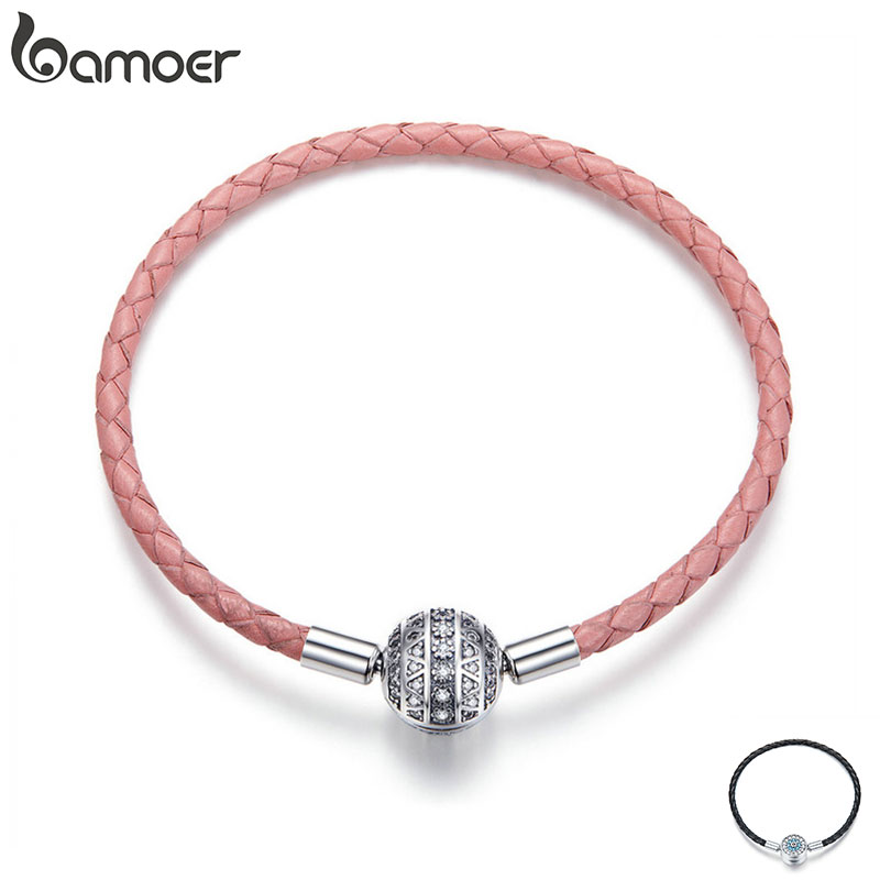 BAMOER Genuine 925 Sterling Silver Round Clasp Dazzling Clear CZ Leather Bracelets For Women Sterling Silver Jewelry SCB114