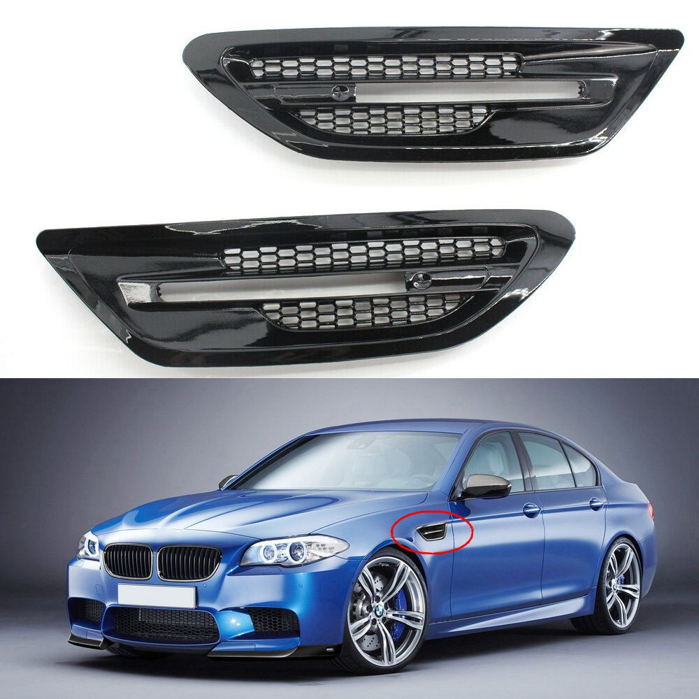 1 Pair Car Side Air Flow Vent Fenders Vent Grills Stickers For BMW M5 F10 F11 2010 2011 2012 2013 2014 2015 2016 Car Accessories
