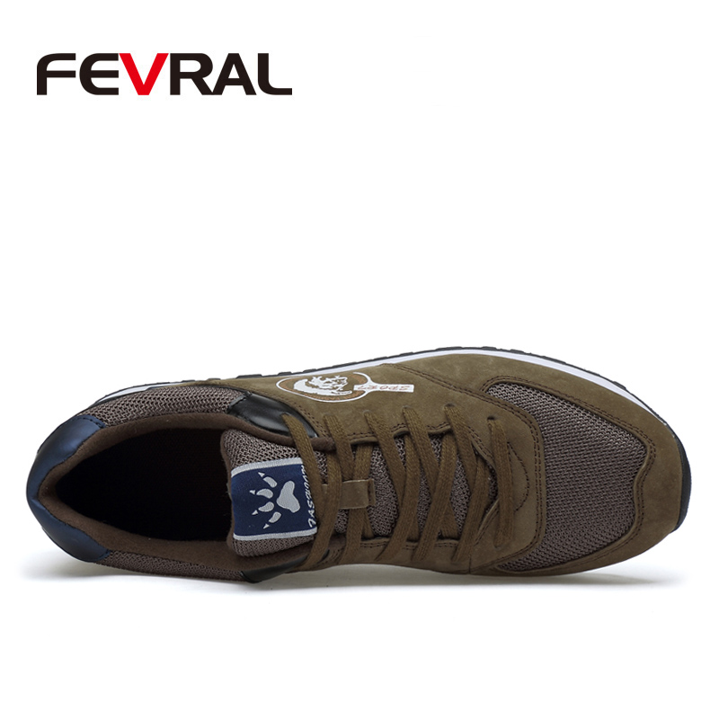Image 3 - FEVRAL Men Sneakers Genuine Leather & Mesh Air Breathable Trainers Light Weight Outdoor Walking Shoes Spring Summer Autumn DailyMens Casual Shoes   -