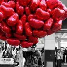 50 個 18 インチローズゴールド赤ピンク愛箔ハートヘリウム風船結婚式誕生日パーティー風船バレンタインの日グロボス用品