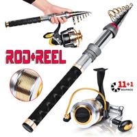 Hot selling rod + fishing wheel + fishing line set long cast super hard carbon telescopic sea fishing rod