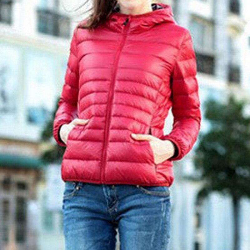 Oeak Winter Down Coats Women Casual Hooded Solid Warm Fashion Wild Coat Jacket Women'S Tops Ultra-Light Down Outerwear 2019