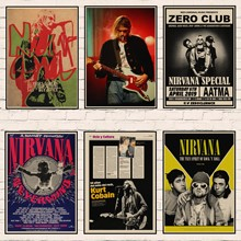 Música Vintage carteles Kurt Cobain Nirvana líder Rock Vintage cartel Retro Kraft carteles pintura decorativa de Bar etiqueta de la pared