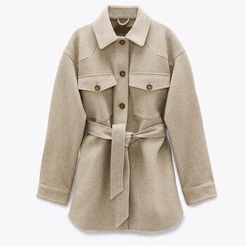 XNWMNZ Za Women  Fashion With Belt Loose Woolen Jacket Coat Vintage Long Sleeve Side Pockets Female Outerwear Chic Overcoat 9