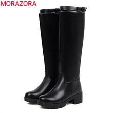 MORAZORA/ г., Новое поступление, зимние однотонные женские ботинки теплые сапоги до колена на Высоком толстом каблуке с круглым носком и пряжкой