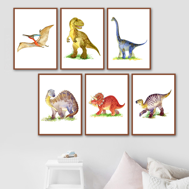 Cute Cartoon Dinosaurs Canvas Painting Wall Decor
