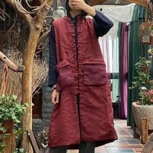 Sleeveless Coats Long-Vests Pockets V-Neck Vintage Winter Cotton Johnature Women Patchwork