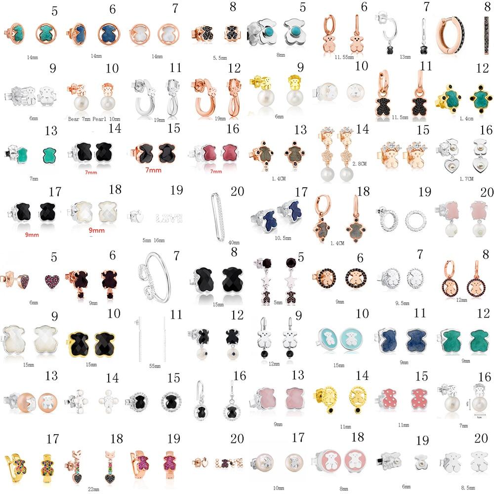 2020 100% 925 Sterling Silver Bear Stud Earrings Classic Pierced Stud Earrings Jewelry Manufacturers Wholesale Free Shipping
