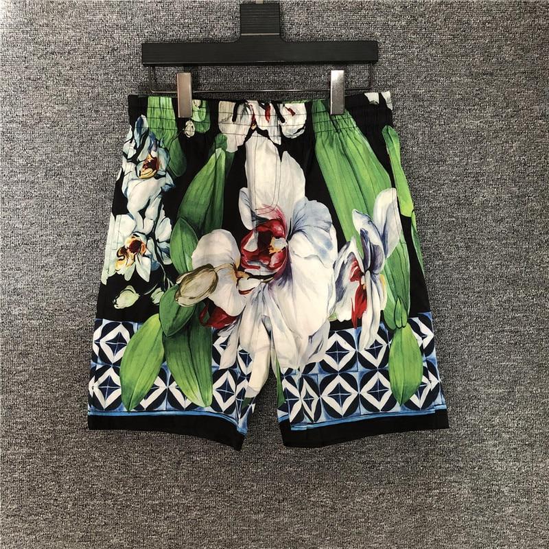 Женские/мужские повседневные шорты летние брендовые новые высококачественные Цветочные пляжные шорты с рисунком для мужчин B704