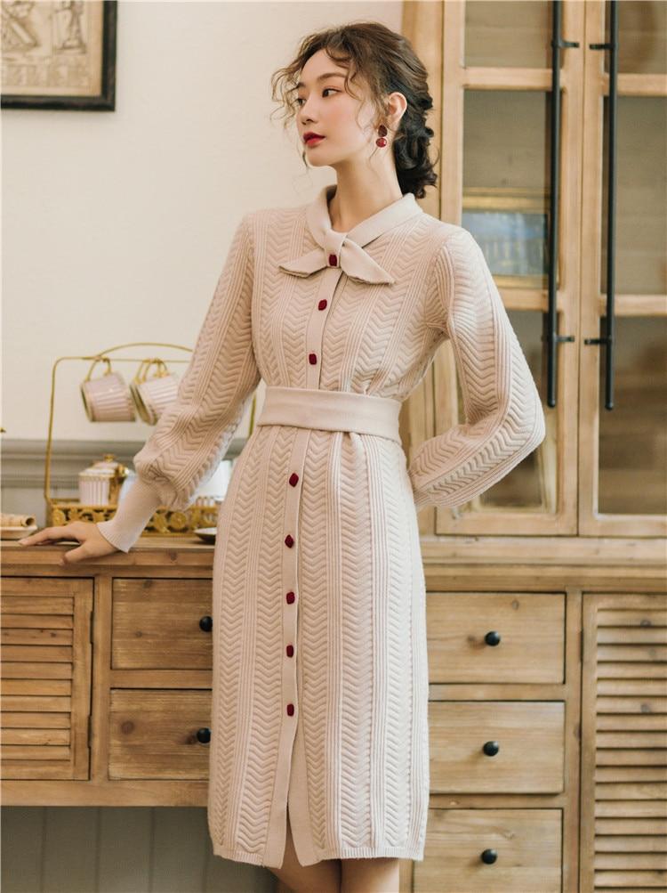 Новое модное женское французское винтажное вязаное платье толстое теплое