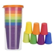 Детские чашки 14 шт пластиковые чашки многоразовые небьющиеся питьевые чашки для детей и малышей портативные для дома, кемпинга, путешествий, вечеринок